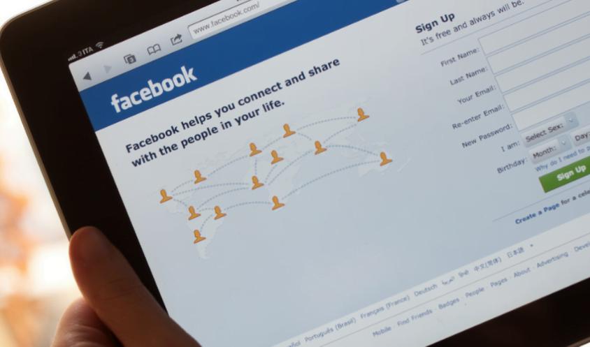 Facebook login screen on a tablet